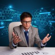 Stock Photo: Businessmdoing paperwork with futuristic backgroung