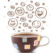 Coffee-cup with brown hand drawn happy smiley faces - Stock Photo