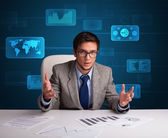 Businessman doing paperwork with digital background — Stok fotoğraf