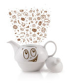 Coffe can with hand drawn media icons — Stock Photo