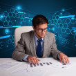 Businessman doing paperwork with futuristic backgroung — Stock Photo