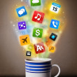 Coffee mug with colorful mediicons — Stock Photo #27426297