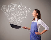 женщина приготовления овощей — Стоковое фото