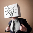 Stock Photo: Businessmgesturing with cardboard box on his head with ligh