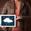 Woman showing hand drawn cloud computing — Stock Photo