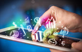 Hand touching tablet pc, charts concept — Stock Photo