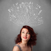 Young woman thinking with sketched arrows above her head — Stock Photo
