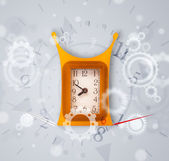 Modern clock with parts comming out — Foto de Stock