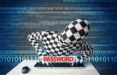 Hacker in morph 3d mask stealing password — Foto Stock