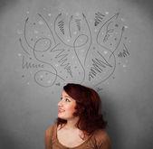 Jovem mulher pensando com flechas na cabeça — Fotografia Stock