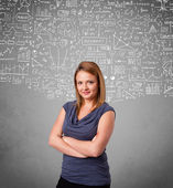 Young pretty lady with hand drawn calculations and icons — Stock Photo