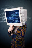 Human cyber monitor pc calculating computer data concept — Stock Photo