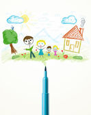 Felt pen close-up with a drawing of a family — 图库照片