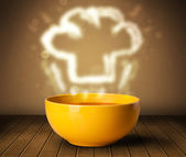 Bowl of soup with chef cook hat steam illustration — Stock Photo