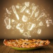 Pizza with white restaurant icons and symbols — Stock Photo #30739859