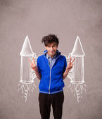 Cute man with jet pack rocket drawing illustration — Stock Photo