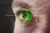 Modern man with cyber technology target military eye — Stock Photo