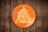 Hand drawn food pyramid on colorful dish plate — Stock Photo