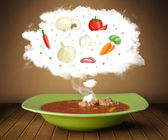 Bowl soup with vegetable ingredients illustration in cloud — Stock Photo