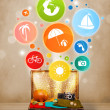 Suitcase with colorful summer icons and symbols — Stock Photo #31139915