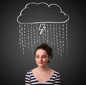 Young woman with thundercloud above her head — Stock Photo