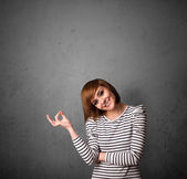 Woman gesturing with copy space — Stock Photo