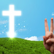 Happy finger smileys with christian religion cross — Foto Stock