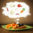 Plate of food with vegetable ingredients illustration in cloud — Stok fotoğraf