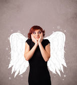 Cute person with angel illustrated wings on grungy background — Stock Photo