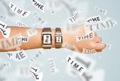 時間が飛んでの時計および腕時計の概念 — ストック写真
