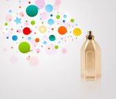 Perfume bottle spraying colored bubbles — Stock Photo