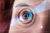 Cyber woman with technolgy eye looking — Foto de Stock