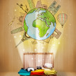 Luggage with travel around the world illustration concept — Stockfoto