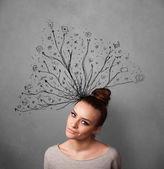 複雑に入り組んだ線彼女の頭から出てくると若い女性 — ストック写真