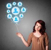 Balão de rede social de exploração de mulher — Fotografia Stock