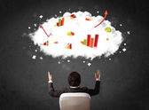 Businessman with charts in a cloud above his head — Stock Photo