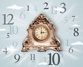 Vintage clock with numbers on the side — Stockfoto