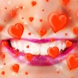 Pretty lady lips with lovely red hearts — Stok fotoğraf