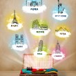 Tourist suitcase with famous landmarks around the world — Stock Photo
