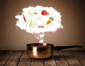 Vegetables in vapor cloud — Stock Photo