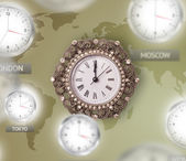 Clocks and time zones over the world concept — Stockfoto