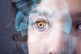 未来数码技术眼小组概念的女人 — 图库照片