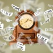 Clock and watch concept with time flying away — Stockfoto