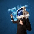 Monitor head person with hacker type of signs on the screen — Stockfoto