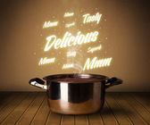 Bright comments above cooking pot — Stockfoto