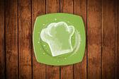 Kleurrijke plaat met hand getrokken witte chef-kok symbool — Stockfoto
