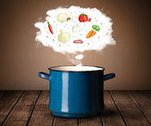 Vegetables in vapor cloud — Stock fotografie