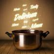 Bright comments above cooking pot — Stock Photo