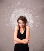 Pretty young girl with abstract circular doodle lines and icons — Stock Photo