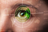 Cyber woman with modern military target eye — Stock Photo